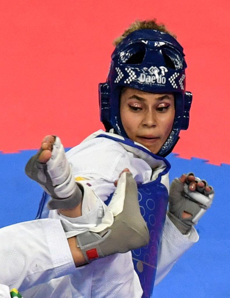 Andrea Ramírez en su combate con la peruana Lizbeth Diez por la medalla de bronce panamericana en Lima 2019. Foto: Luis Acosta / AFP