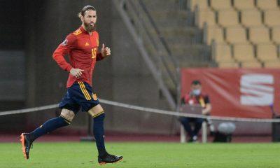 Sergio Ramos en el partido contra Kosovo
